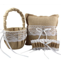 Wholesale Burlap Products - 3Pcs set Burlap Hessian Lace Wedding Ring Pillow &Flower Basket &Garter Bridal Decoration Product Supplies <$16 no tracking