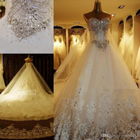 Wholesale Sweetheat Wedding Dress - Hot Sweetheat Lace Wedding Dresses Gorgeous A-Line Cathedral Train Dazzing Crystal Beaded Bridal Dresses Wedding Gowns