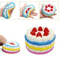 Wholesale Rainbow Birthday Cakes - New Squishy Jumbo Rainbow Strawberry Cake squishies Slow Rising Kawaii Cute Birthday Cream Cake Scented Kids Toy Free Shipment