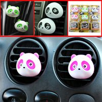 Wholesale Mini Car Fresh Air - 2pc set Mini car outlet perfume,lovely panda car outlet perfume, Air Purifier Freshener Humidifier, Car Fresh supplies