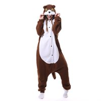 Wholesale Costume Tails Squirrel - 2017 Unisex Women Hooded Pajamas Squirrel Animal Pyjama Set Fleece With Tail Sleepwear Halloween Cosplay Garment