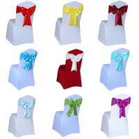 Wholesale Tie Backs For Chairs Wedding - 100Pcs Lot Purple Yellow Blue Tie Ready Sashes Hotel Wedding Chair Back Stretch Satin Bow Crushed Ties For Wedding Event Home Party