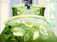 Wholesale Comforter Wedding Twill - white green calla floral print comforter quilt cover girls wedding bedding set cotton full queen adult bedroom decor bedspread