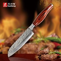 Wholesale Damascus Steel Kitchen - 5 inch sharp Santoku Knife chef knife Damascus steel tools Japanese vegetable knife advanced color wood handle kitchen knives