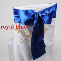 Wholesale Royal Blue Satin Sash Chair - Royal Blue Color Satin Chair Sash Bow For Wedding Chair Cover Free Shipping