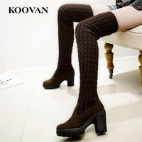 Wholesale White Flat Thigh High Boots - Thigh-High Boots Over Knee Lady Shoe Knitting Woolen Elasticity High Martin Boots 2017 Koovan Winter Autumn Wedge High Heel Boots W163
