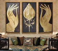 ingrosso stile asiatico art-Moderna astratta enorme grande tela arte pittura a olio di stile sud-est asiatico buddha dipinti a mano senza regalo di Natale con cornice