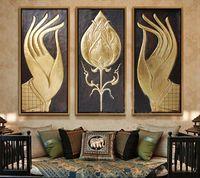 asiatische gemälde großhandel-Modernes abstraktes großes großes Leinwandkunst-Ölgemälde südostasiatische Art-Buddha-Handmalereien kein gerahmtes Weihnachtsgeschenk