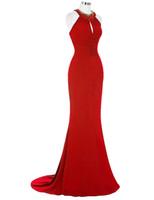 schwarzes rhinestone formales langes kleid großhandel-2019 neue lange rote Abendkleid Robe Sirene elegante schwarze Königsblau Strass Kleid Gece Elbisesi formale Meerjungfrau Abendkleid Abendkleid