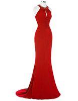 robe longue formelle en strass noir achat en gros de-2019 Nouvelle Robe De Soirée Rouge Longue Sirene Robe De Soirée Sirène Élégante Noir Royal Bleu Strass Gece Elbisesi