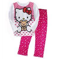 pisi seti pamuk toptan satış-Kitty Kız Giysileri Takım Elbise En Kaliteli Moda Kız Giyim Seti Çocuk Pijama Yürüyor T-Shirt Pijama 100% Pamuk 120 Setleri