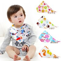 Wholesale Kerchief Bib Wholesale - 28 Styles New kids Triangle Bibs Bandana burp cloths Baby Cotton kerchief infant Saliva Bibs Pinafore Apron Baby Feeding