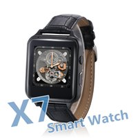 Wholesale android x7 - Smart Watch X7 Leather Watchband Bluetooth Smartwatch IPS Touch LCD Screen Support TF Card SIM Card for All Smart Phone Android IOS