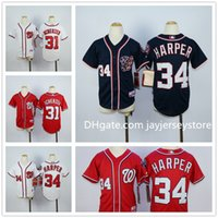 Wholesale Cool White Kids - Youth Washington Nationals Jersey Baseball MLB Kid Boys Bryce Harper Max Scherzer White Blue Red Cool Base