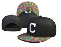 Wholesale Indian Paper - 2016 fashion new Cleveland Indians Classic Deep Blue Fitted Hat Hip Hop Embroidered Full Closed Baseball Cap