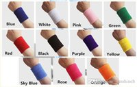 Wholesale Tennis Wristbands Wholesale - 2016 New Wrist support Unisex Cotton sports Sweat Band Sweatband Wristband Arm Basketball Tennis Gym Yoga running Wrist Support mix order