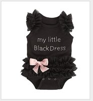 Wholesale Girls Lace Dresses Rompers - 2016 Cute Infant Baby Lace Tutu Rompers Dress Toddler Girls Letters Sleeveless Jumpsuits With Bowknot Newborn Black Onesies One-Piece
