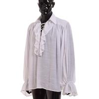 blusa de poliéster venda por atacado-Unisex Mulheres Homens Vampiro Blusa Colonial Gótico Camisa Branca Ruffled Renascença Poeta Medieval Pirata Blusa de Manga Longa Tops