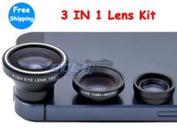 Wholesale Iphone Lens Set - 1pc Magnetic 3 in 1 Wide Angle lens  Macro lens 180 Fish Eye Lens Kit Set for iPhone 6 6S plus 5S 4 4S iPod Nano 4G iPad,free shipping
