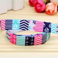"""Wholesale Chevron Items - 5 8"""" 16mm Summer Chevron Patterns Fold Over Elastic-FOE Printed Ribbon for Baby Craft Party DIY Hair Items 50 100Yards A2-F-885"""