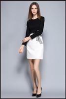beyaz düz elbise stilleri toptan satış-Bayanlar Siyah Elbise Beyaz Yaka Moda Kore Tarzı Nakış Düz Mini Elbiseler Sonbahar Patchwork Temel Elbise