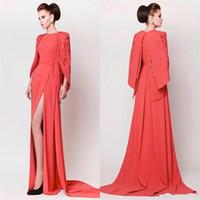 Wholesale Evening Dress Slit Design - New Design Evening Dresses Lace Appliques Gowns Sexy High Slit A-Line Evening Dress Formal Women Arabic Party Gown Vestidos