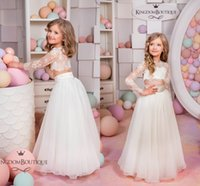 Wholesale two piece flower girl dresses - 2018 New Arrival High Quality Two Pieces Flower Girls Dresses Illusion Back Jewel Neck 3 4 Sleeves Kids Long Formal Wedding Party Gowns