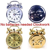 Wholesale Alarm Clocks Battery - wind up Mechanical Clockwork HeFei867 No batteries needed alarm clock Copper core 2 Colors Pointer Home Furnishing decoration Antique Styles