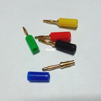Wholesale Probe Jack - 100Pcs\Lot Gold Plated Mini 2mm Copper Banana Plug Jack For Speaker Amplifier Gold Plated Binding Post Test Probes Connector