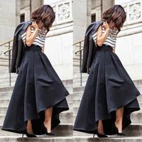 Wholesale Flared Skirt High Waist - Women High Waist Pleated Skirts Stretch Flared Summer Street Clothes Wear Asymmetric Skirt Maxi Long Skirts