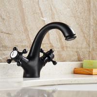 Wholesale Basin Mixer Taps Swivel Spout - Bronze Bathroom Basin Faucet Brass Dual Handle Swivel Spout Bathroom Vanity Mixer Taps ,Hot & Cold Water