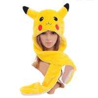 Wholesale Cute Panda Cosplay - 2016 Cute Cartoon Warm Fluffy Cosplay Plush Animal Pikachu Panda Fuzzy Beanie Plush Winter Adult Women Men's Hat Cap Costume