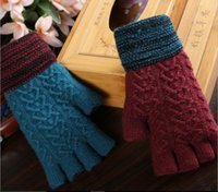 Wholesale Types Fashion Gloves - Men's knitted wool winter thickening warm half-exposed fingers refers to five fingers gloves students write keyboard typing wholesale