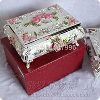 Wholesale Tin Boxes For Gifts - 18*13.5*7.5CM princess 2 colors tin jewelry box for girl's chrismas Gift home decoration Necklace earrings Ring box F-0764-L