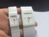 Wholesale Square Men White Watch - Ceramic watches high quality men's casual square watch quartz watch men and women watch white ceramic square waterproof couple tables