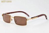 Wholesale Eyeglass Frames For Girls - with box 2017 retro vintage sunglasses for women men full rimless buffalo horn glasses brand designer eyeglasses