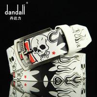 Wholesale skull silver belt buckle - New Famous Designer Luxury Skull Pattern Belts Women Men Belts Male Waist Strap Faux Leather Alloy Buckle Waistband for Men