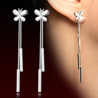 Dangle Bouchons D'oreille En Gros Pas Cher-Boucles d'oreilles Piece Tactly Tassels Eardrop Korea Edition Femme Ornements Wholesale ilver Earplug ear plug Crystal, Rhinestone Silver Alloy