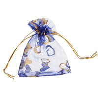 Wholesale Love Heart Organza Bags - 100 Pcs Blue Love Heart Organza Jewelry Gift Pouch Bags 7x9cm (2.7X 3.5 inch) Drawstring Bag Organza Gift Candy Bags DIY Gift Bags