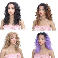 Wholesale synthetic wigs for sale - Synthetic Lace front wigs Curly style inch Black Ombre color synthetic hair wigs women Fashion wigs