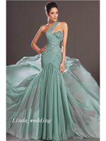 Wholesale Sweep Brush One Shoulder - Free Shipping Fluffy Modern Mint Green Trumpet Mermaid One-Shoulder Sleeveless Sweep Brush Train Chiffon Applique Evening Dresses