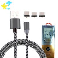 3 em 1 360 Stronger Metal Magnetic Micro USB Cable Sync Charging Charger Cabos de cabo para Android Type-c Smartphone com pacote de varejo