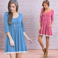 Wholesale Cheap Lace Gowns China - Fashion Women's Lace Crew Neck Dresses Flare 3 4 Sleeve Autumn Casual Dresses Plus Size Elastic Fabric Cheap China Dress Free Shipping