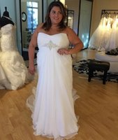 Wholesale Wedding Dress Draped Empire - Empire Waist Wedding Dresses Plus Size Simple Style Summer Fall Pleated Sweetheart Jewelly Lace-up Back Chiffon Bridal Gown Sheath 2016