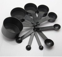 Wholesale Tea Baking Cups - Black Plastic Measuring Cups 10pcs lot Measuring Spoon Kitchen Tools Measuring Set Tools For Baking Coffee Tea