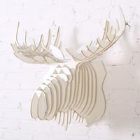 Wholesale Canada Pvc - Nordic Canada Quebec European Scandinavia pastoral stag head,3D wooden moose elk head wall decoration,reindeer caribou hanging