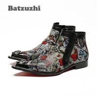 Wholesale Boot Irons - Batzuzhi Italian Style Handmade Men Boots Pointed Iron Toe Designer Short Boots Leather Zipper High Help Men's Boots Colorful