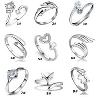 Wholesale Hot Girl Open - Silver Crytal Rings Hot Sale Band Finger Rings For Women Girl Party Open Size Fashion Jewelry Wholesale Free Ship 0200WH