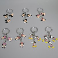 """Wholesale Top Keychain Toys - Top New 7 Styles 1.2"""" 3.2CM Mickey Minnie Keychain Cartoon Running Anime Keychains Pendants Key Rings Best Gifts Toys"""