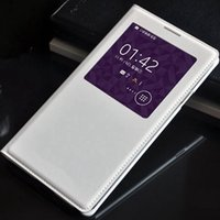 samsung galaxy note için pil yuvası toptan satış-Samsung Galaxy Not 3 için Note3 N9000 N9005 Durumda Akıllı Görünüm Uyku Çip Fonksiyonu Orijinal Çip Ile Kapak Kapak Pil Konut Kılıf